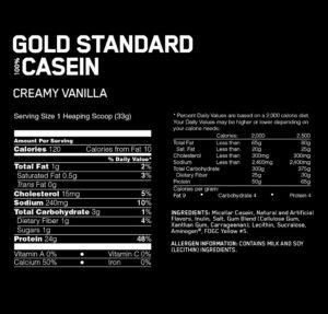 OPTIMUM NUTRITION GOLD STANDARD 100% CASEIN – CREAMY VANILLA
